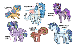 Size: 3000x1800 | Tagged: safe, artist:dreamscapevalley, oc, oc:apple zap, oc:aquaria, oc:graffiti, oc:rocky road, oc:ruthie apple, oc:starstruck luxury, dracony, earth pony, hybrid, pegasus, pony, unicorn, colt, female, filly, freckles, goggles, horns, interspecies offspring, magical lesbian spawn, male, mare, offspring, parent:apple bloom, parent:applejack, parent:biscuit, parent:prince blueblood, parent:rainbow dash, parent:rarity, parent:rumble, parent:scootaloo, parent:snips, parent:spike, parent:trixie, parent:twist, parents:applebiscuit, parents:appledash, parents:bluetrix, parents:rumbloo, parents:snipstwist, parents:sparity, simple background, stallion, unshorn fetlocks, watermark, white background