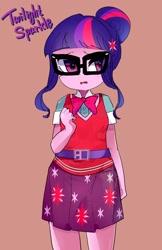 Size: 1330x2048   Tagged: safe, artist:gakushuogawa, sci-twi, twilight sparkle, equestria girls, equestria girls series, bowtie, cute, female, red background, simple background, solo, twiabetes