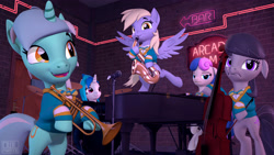 Size: 3840x2160 | Tagged: safe, artist:owlpirate, bon bon, derpy hooves, dj pon-3, lyra heartstrings, octavia melody, sweetie drops, vinyl scratch, 3d, bipedal, bon bon is not amused, cello, drums, musical instrument, piano, saxophone, sfm pony, trumpet, unamused
