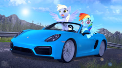 Size: 3840x2160 | Tagged: safe, artist:owlpirate, derpy hooves, rainbow dash, 3d, car, glasses, porsche