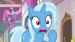 Size: 1920x1080   Tagged: safe, screencap, trixie, pony, unicorn, a horse shoe-in, female, mare, open mouth, raised hoof, school of friendship, shocked, solo, uvula, worried, yelling