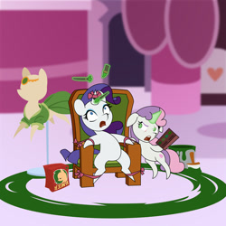 Size: 600x600   Tagged: safe, artist:gor1ck, rarity, sweetie belle, unicorn, bound, clothes, dress, female, filly, green, hair dye, lipstick, makeup brush, mare, mascara, paint, paintbrush, pointy hooves, ponyquin, ribbon, siblings, sisters, sitting, terrified, torture