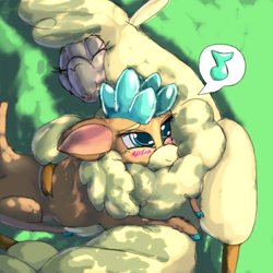 Size: 1584x1584 | Tagged: safe, artist:firefanatic, paprika paca, velvet reindeer, alpaca, deer, reindeer, them's fightin' herds, blushing, chest fluff, community related, cuddling, cute, description is relevant, female, fluffy, happy, mlem, note, nuzzling, silly, story included, tongue out