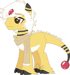 Size: 369x395 | Tagged: safe, artist:the-iron-bull, ampharos, pony, base used, clothes, cloven hooves, hoof fluff, male, pokémon, ponified, scarf, simple background, solo, transparent background