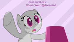 Size: 1280x720 | Tagged: safe, artist:sexi-pixelzz, oc, oc only, earth pony, pony, the gift of the maud pie, against glass, bald, base, d:, display, earth pony oc, eyelashes, glass, open mouth, solo, underhoof, wide eyes