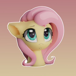 Size: 1920x1920 | Tagged: safe, artist:fluffyrescent, artist:ifmsoul, fluttershy, pegasus, pony, 3d, blender, bust, catchlights, cheek fluff, ear fluff, female, floppy ears, gradient background, looking at you, mare, outline, portrait, solo, three quarter view, white outline
