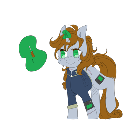 Size: 3500x3500 | Tagged: safe, artist:hellscrossing, oc, oc only, oc:littlepip, pony, unicorn, fallout equestria, bobby pin, clothes, damaged, fanfic, fanfic art, female, freckles, glowing horn, hooves, horn, levitation, magic, magic aura, mare, one hoof raised, pipbuck, screwdriver, simple background, smiling, solo, telekinesis, transparent background, uniform, vault suit