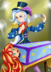 Size: 1000x1414 | Tagged: safe, artist:lord--opal, sunset shimmer, trixie, equestria girls, equestria girls series, box, box sawing trick, duo, duo female, female, human coloration, magic show, magic trick, magician outfit, panic, saw