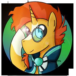 Size: 1134x1134   Tagged: safe, artist:kacpi, sunburst, pony, unicorn, avatar, glasses, male, simple background, solo, transparent background
