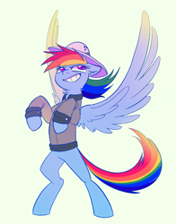 Size: 1019x1299 | Tagged: safe, artist:draw3, daring do, rainbow dash, pegasus, pony, bipedal, clothes, female, hat, mare, neck fluff, pose, simple background, smiling, solo, transparent background, wings