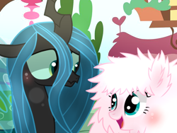 Size: 640x480 | Tagged: safe, artist:arcticwinds143, artist:dipi11, artist:themune, queen chrysalis, oc, oc:fluffle puff, changeling, earth pony, pony, base used, blushing, canon x oc, chrysipuff, cute, cutealis, female, flufflebetes, lesbian, mare, open mouth, shipping