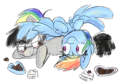 Size: 3114x2160 | Tagged: safe, artist:littleblackraencloud, rainbow dash, oc, oc:moon ray, pegasus, pony, blushing, box of chocolates, canon x oc, chocolate, female, food, glasses, hearts and hooves day, hearts and hooves day cards, holiday, hug, laying on pony, laying on stomach, male, on back, pegasus oc, shipping, simple background, smiling, spread wings, valentine's day, valentine's day card, winghug, wings
