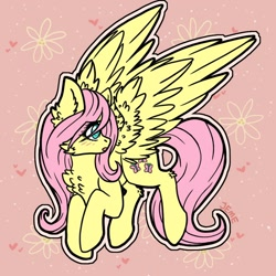 Size: 894x894 | Tagged: safe, artist:jeme-jay-art, fluttershy, pegasus, pony, cheek fluff, chest fluff, cute, ear fluff, female, flower, heart, leg fluff, mare, open mouth, pink background, profile, shyabetes, simple background, solo, spread wings, wings