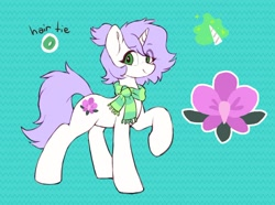 Size: 1604x1191 | Tagged: safe, artist:orchidpony, oc, oc:orchid, unicorn, clothes, female, flower pony, mare, reference sheet, scarf, simple background, solo