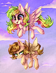 Size: 3402x4419 | Tagged: safe, artist:_spacemonkeyz_, oc, oc:fruity extra, oc:nutty special, earth pony, pegasus, commission, rope, unamused