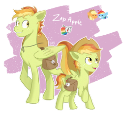 Size: 1150x1080 | Tagged: safe, artist:laescbr, applejack, rainbow dash, oc, oc:zap apple, pegasus, appledash, bag, cowboy hat, female, freckles, hat, lesbian, magical lesbian spawn, male, next generation, offspring, parent:applejack, parent:rainbow dash, parents:appledash, pegasus oc, saddle bag, shipping, simple background, stetson, transparent background, wings