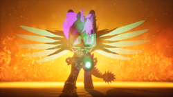 Size: 3840x2160 | Tagged: safe, artist:phoenixtm, oc, oc:phoenix stardash, cyborg, dracony, dragon, hybrid, pony, 3d, angry, battle stance, dracony alicorn, energy weapon, fire, minigun, spread wings, unreal engine, weapon, wings