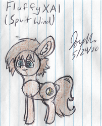 Size: 1680x2076 | Tagged: safe, artist:mlplayer dudez, oc, oc only, oc:spirit wind, earth pony, pony, colored, ear fluff, happy, signature, sketch, smiling, solo, traditional art