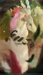 Size: 497x872 | Tagged: safe, artist:chao-xing, discord, fluttershy, anthro, butterfly, draconequus, pegasus, pony, snake, digital art, digital painting, discoshy, eyes closed, female, flower, fluttershyxdiscord, glowing eyes, implied shipping, implied straight, large wings, leaf, looking at you, male, mare, painting, roman, shipping, snake bites, straight, wings