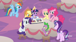 Size: 1920x1080 | Tagged: safe, screencap, applejack, fluttershy, pinkie pie, rainbow dash, rarity, spike, starlight glimmer, twilight sparkle, alicorn, dragon, earth pony, pegasus, pony, unicorn, deep tissue memories, harvesting memories, memories and more, the last problem, spoiler:deep tissue memories, spoiler:harvesting memories, spoiler:memories and more, spoiler:mlp friendship is forever, bipedal, bipedal leaning, book, canterlot, clothes, coronation dress, crown, dress, female, jewelry, leaning, male, mane six, regalia, scrapbook, twilight sparkle (alicorn), winged spike