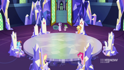 Size: 1280x720 | Tagged: safe, screencap, applejack, fluttershy, pinkie pie, rainbow dash, rarity, spike, starlight glimmer, dragon, memories and more, spoiler:memories and more, spoiler:mlp friendship is forever, cutie map, throne room, twilight's castle, winged spike