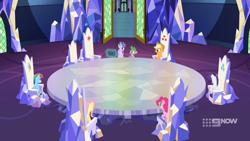 Size: 1920x1080   Tagged: safe, screencap, applejack, fluttershy, pinkie pie, rainbow dash, rarity, spike, starlight glimmer, dragon, earth pony, pegasus, pony, unicorn, spoiler:memories and more, spoiler:mlp friendship is forever, castle, female, friendship throne, magic, male, mare, memories and more, scrapbook, throne, throne room