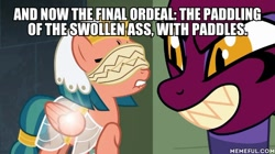 Size: 600x337 | Tagged: safe, edit, edited screencap, screencap, somnambula, sphinx (character), sphinx, daring done?, blindfold, caption, image macro, imminent spanking, lip bite, text, the simpsons