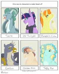 Size: 1280x1606 | Tagged: safe, artist:echabi, gallus, pumpkin cake, twilight sparkle, oc, oc:taffy pop, earth pony, griffon, pony, siren, unicorn, six fanarts, bust, clothes, earth pony oc, fangs, female, male, mare, older, scarf, siren oc, smiling, tongue out, unicorn twilight