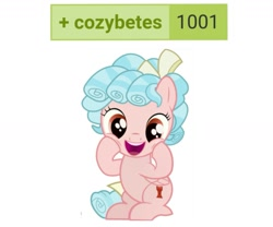 Size: 1275x1061 | Tagged: safe, edit, cozy glow, pegasus, pony, derpibooru, cozybetes, cute, female, filly, happy, looking at you, meta, simple background, solo, tags, white background