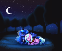 Size: 3543x2952 | Tagged: safe, artist:wild-fluff, idw, princess luna, radiant hope, alicorn, pony, unicorn, clothes, crescent moon, crown, female, jewelry, lesbian, lunahope, lying down, mare, moon, night, outdoors, peytral, prone, regalia, scarf, shipping, tiara, tree