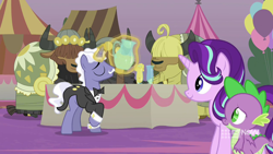 Size: 1280x720 | Tagged: safe, screencap, spike, starlight glimmer, dragon, pony, unicorn, yak, spoiler:memories and more, spoiler:mlp friendship is forever, applesauce, bowtie, clothes, cloven hooves, facial hair, female, glowing horn, horn, magic, male, mare, memories and more, moustache, telekinesis, tuxedo, winged spike