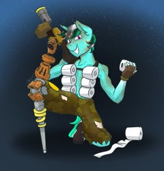 Size: 2077x2160   Tagged: safe, artist:cadetredshirt, oc, oc only, oc:page, anthro, unicorn, amputation, crossover, fire, grenade launcher, horn, junkrat, looking at you, menacing, overwatch, smiling, solo, toilet paper, two toned mane
