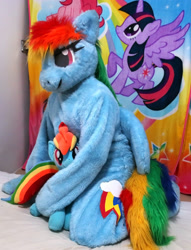 Size: 2048x2675 | Tagged: safe, artist:rogerdaily, pinkie pie, rainbow dash, twilight sparkle, alicorn, human, bed, clothes, cosplay, costume, fursuit, irl, irl human, photo, plushie, ponysuit, twilight sparkle (alicorn)
