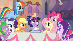 Size: 1280x720 | Tagged: safe, screencap, applejack, fluttershy, pinkie pie, rainbow dash, rarity, spike, starlight glimmer, twilight sparkle, alicorn, earth pony, pony, unicorn, spoiler:memories and more, spoiler:mlp friendship is forever, canterlot, clothes, coronation dress, crown, dress, female, jewelry, male, mane seven, mane six, memories and more, regalia, scrapbook, twilight sparkle (alicorn)