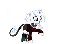Size: 2160x1620 | Tagged: safe, artist:missprincesssapphire, oc, oc only, oc:lost legacy (ice1517), pony, unicorn, bone, bowtie, clothes, coat, commission, ear piercing, earring, female, horn, horn ring, jewelry, leonine tail, mare, nose piercing, nose ring, open mouth, piercing, raised hoof, shorts, simple background, socks, solo, white background