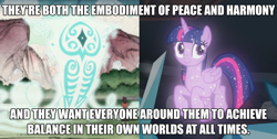 Size: 2190x1101 | Tagged: safe, edit, edited screencap, screencap, tree of harmony, twilight sparkle, alicorn, what lies beneath, avatar, caption, comparison, cropped, cute, female, image macro, implied twilight sparkle, mare, not twilight sparkle, peace, raava, smiling, sparkles, spirit, spread wings, text, the legend of korra, treeabetes, treelight sparkle, treelightbetes, wings