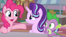 Size: 1280x720 | Tagged: safe, screencap, pinkie pie, spike, starlight glimmer, spoiler:memories and more, spoiler:mlp friendship is forever, memories and more, smiling