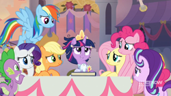 Size: 1280x720 | Tagged: safe, screencap, applejack, fluttershy, pinkie pie, rainbow dash, rarity, spike, starlight glimmer, twilight sparkle, alicorn, earth pony, pony, unicorn, spoiler:memories and more, spoiler:mlp friendship is forever, canterlot, clothes, coronation dress, crown, dress, female, jewelry, male, mane seven, mane six, memories and more, regalia, scrapbook, smiling, twilight sparkle (alicorn)