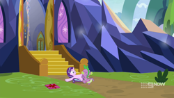 Size: 1920x1080 | Tagged: safe, edit, screencap, spike, starlight glimmer, dragon, pony, unicorn, molt down, the last problem, spoiler:memories and more, spoiler:mlp friendship is forever, castle, cropped, female, from behind, gift wrapped, lying down, male, mare, memories and more, on back, shipping, solo, starspike, stone scales