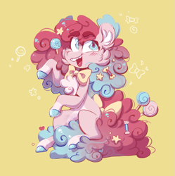 Size: 1623x1627 | Tagged: safe, artist:olivecow, pinkie pie, earth pony, pony, bowtie, candy, cheek fluff, chest fluff, colored hooves, ear fluff, female, food, lollipop, mare, missing cutie mark, redesign, simple background, sitting, smiling, solo, yellow background