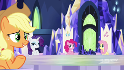 Size: 1280x720 | Tagged: safe, screencap, applejack, fluttershy, pinkie pie, rarity, earth pony, pegasus, unicorn, memories and more, spoiler:memories and more, spoiler:mlp friendship is forever, applejack's hat, cowboy hat, cutie map, friendship throne, hat, looking at someone, sitting, smiling, throne room