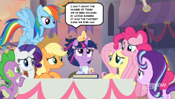 Size: 1280x720 | Tagged: safe, edit, screencap, applejack, fluttershy, pinkie pie, rainbow dash, rarity, spike, starlight glimmer, twilight sparkle, alicorn, earth pony, pony, unicorn, the last problem, spoiler:memories and more, spoiler:mlp friendship is forever, burger, canterlot, clothes, coronation dress, crown, dress, female, food, jewelry, male, mane seven, mane six, memories and more, regalia, scrapbook, smiling, text, twilight sparkle (alicorn)