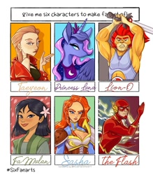 Size: 1080x1233 | Tagged: safe, artist:art_bonjourdepro, princess luna, oc, alicorn, human, pony, six fanarts, armpits, bedroom eyes, bust, clothes, costume, crossover, dc comics, ear piercing, earring, ethereal mane, female, jewelry, lion-o, male, mare, mulan, peytral, piercing, running, starry mane, sword, the flash, thundercats, weapon