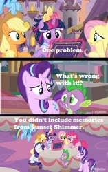 Size: 1324x2104 | Tagged: safe, edit, edited screencap, screencap, applejack, fluttershy, pinkie pie, rainbow dash, rarity, spike, sunset shimmer, twilight sparkle, alicorn, dragon, pony, the last problem, spoiler:memories and more, book, clothes, comic, coronation dress, dress, mane seven, mane six, meme, memories and more, screencap comic, second coronation dress, text, twilight sparkle (alicorn), winged spike