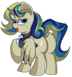 Size: 1280x1363   Tagged: safe, artist:rainbowtashie, carrot top, derpy hooves, golden harvest, mayor mare, minuette, oc, oc:queen fresh care, alicorn, pony, alicorn oc, alicorn princess, butt, clothes, commissioner:bigonionbean, cutie mark, derp, extra thicc, female, flank, fusion, fusion:queen fresh care, glasses, horn, mare, plot, simple background, thicc ass, transparent background, wings, writer:bigonionbean