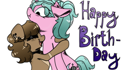 Size: 1182x665   Tagged: safe, artist:nerdial, oc, oc:magicalmysticva, pony, unicorn, birthday, brown mane, female, happy birthday, hug, mare, pink coat, transparent background, voice actor
