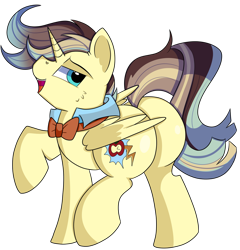 Size: 1280x1336 | Tagged: safe, artist:rainbowtashie, braeburn, doctor whooves, prince blueblood, time turner, wind waker (character), oc, oc:king righteous authority, alicorn, pony, alicorn oc, bowtie, butt, clothes, collar, commissioner:bigonionbean, cutie mark, extra thicc, flank, fusion, fusion:king righteous authority, horn, male, plot, simple background, stallion, thicc ass, transparent background, wings, writer:bigonionbean