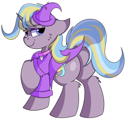 Size: 915x873   Tagged: safe, artist:rainbowtashie, ms. harshwhinny, trixie, oc, oc:strict talent, earth pony, pony, unicorn, butt, clothes, commissioner:bigonionbean, cutie mark, extra thicc, female, flank, fusion, fusion:strict talent, hat, mare, plot, simple background, thicc ass, transparent background, wizard hat, writer:bigonionbean