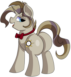 Size: 1280x1393   Tagged: safe, artist:rainbowtashie, doctor whooves, prince blueblood, time turner, oc, oc:royal minutes, earth pony, pony, unicorn, bowtie, butt, commissioner:bigonionbean, cutie mark, extra thicc, flank, fusion, fusion:royal minutes, male, plot, simple background, stallion, thicc ass, transparent background, writer:bigonionbean