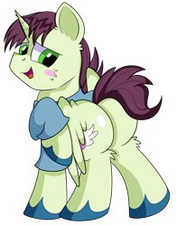 Size: 1280x1630 | Tagged: safe, artist:rainbowtashie, donut joe, soarin', oc, oc:quick coffee, pegasus, pony, unicorn, blushing, butt, clothes, commissioner:bigonionbean, cutie mark, extra thicc, flank, fusion, fusion:quick coffee, male, not an alicorn, plot, simple background, stallion, thicc ass, transparent background, writer:bigonionbean
